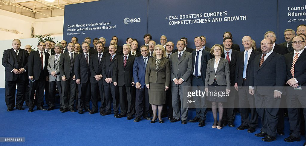 European ministers and officials pose during the European Space Agency (ESA) Council Meeting on November 20, 2012 in Naples.