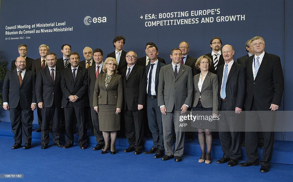 European ministers and officials pose during the European Space Agency (ESA) Council Meeting on November 20, 2012 in Naples. AFP PHOTO / ROBERTO SALOMONE