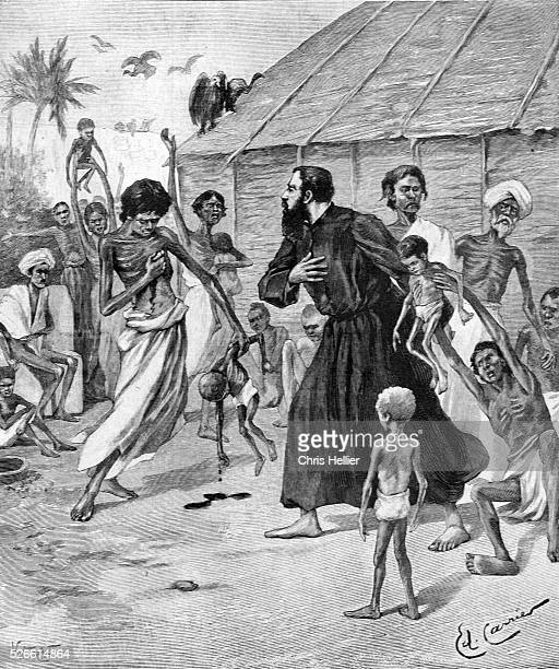 European Missionary Helping the Poor During a Famine in India 1897