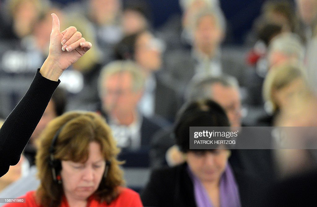 European MPs vote on the nomination of the new health and consumer protection commissioner during a plenary session at the European Parliament, on November 20, 2012 in Strasbourg, eastern France. AFP PHOTO / PATRICK HERTZOG