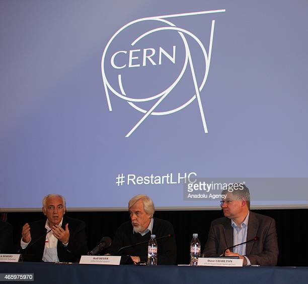 European Organization for Nuclear Research Director General RolfDieter Heuer holds press conference on Large Hadron Collider restart in Meyrin...