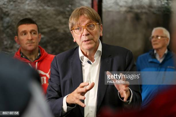 European Parliament Brexit chief Guy Verhofstadt meets with farmers at a farm which sits on the border between Armagh and Monaghan between Northern...
