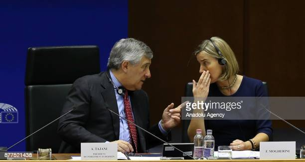 European Parliament Chief Antonio Tajani and High Representative of the European Union for Foreign Affairs and Security Policy and VicePresident of...