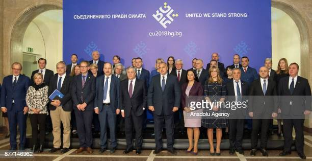 European Parliament Chief Antonio Tajani and Prime Minister of Bulgaria Boyko Borisov and other officials pose for a family photo ahead of their...