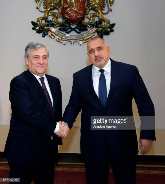 European Parliament Chief Antonio Tajani and Prime Minister of Bulgaria Boyko Borisov shake hands ahead of their meeting in Sofia Bulgaria on...