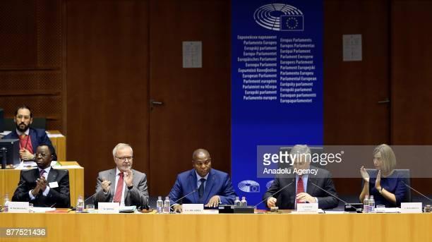 European Parliament Chief Antonio Tajani President of the Central African Republic FaustinArchange Touadera President of the PanAfrican Parliament...