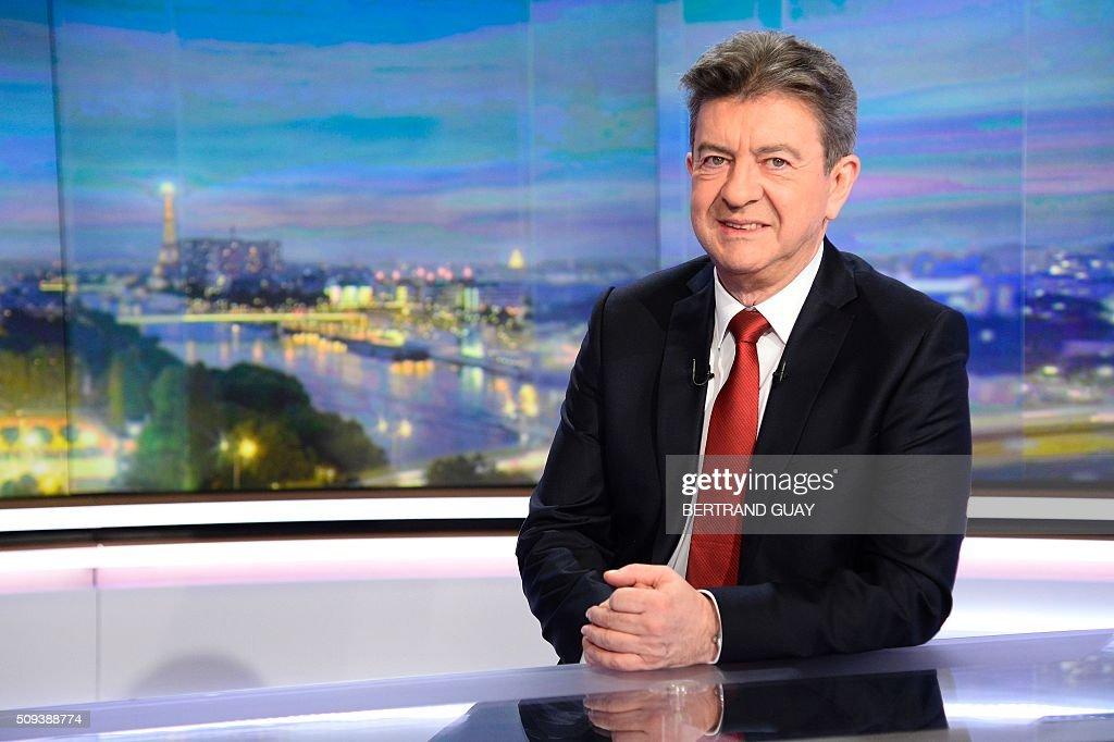 European parliament member and member of the leftist Parti de Gauche (PG) Jean-Luc Melenchon poses before taking part in the broadcast news of French TV channel TF1 on February 10, 2016, in Boulogne, near Paris. / AFP / BERTRAND GUAY
