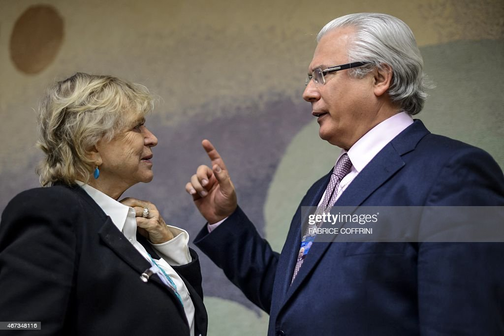 European Parliament member <a gi-track='captionPersonalityLinkClicked' href=/galleries/search?phrase=Eva+Joly&family=editorial&specificpeople=2884273 ng-click='$event.stopPropagation()'>Eva Joly</a> (L) speaks with former Spanish judge <a gi-track='captionPersonalityLinkClicked' href=/galleries/search?phrase=Baltasar+Garzon&family=editorial&specificpeople=2297576 ng-click='$event.stopPropagation()'>Baltasar Garzon</a> on March 23, 2015 prior to an event with WikiLeaks founder via web cast from the Ecuadorian Embassy in London on the sideline of the United Nations (UN) Human Rights Council session in Geneva. WikiLeaks founder Julian Assange took refuge in June 2012 in the Ecuadorian Embassy to avoid extradition to Sweden, where he faces allegations of rape and sexual molestation, which he strongly denies.