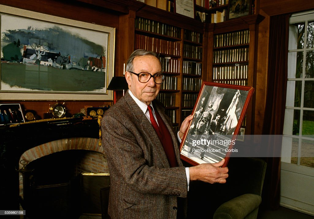 European Parliament member Michel Debre holds a framed photograph of Charles de Gaulle at his home in Montlouis-sur-Loire, France. Debre served on the staff of Charles de Gaulle during the mid 1940s, and was the French Prime Minister up until 1962.