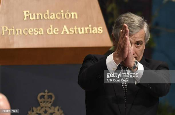 European Parliament president Antonio Tajani acknowledges the public after his speech during the Princess of Asturias Awards ceremony at the...