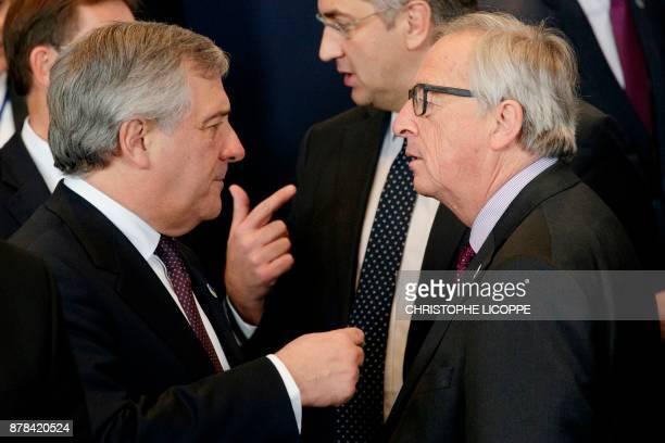European Parliament President Antonio Tajani and European Commission President JeanClaude Juncker speak during a EU Eastern Partnership summit...