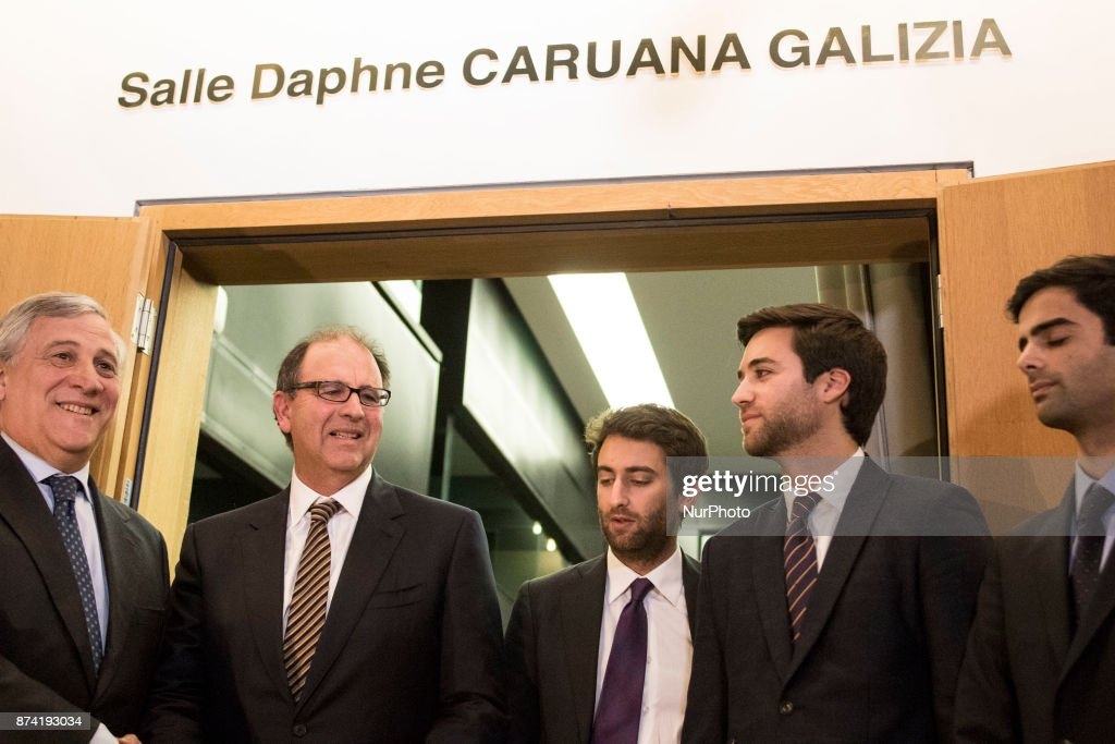 European Parliament President Antonio Tajani and family members of Ms Caruana Galizia during Naming ceremony of press conference room in honour of Daphné CARUANA GALIZIA on 14 november 2017, in Strasbourg, France. Daphné CARUANA GALIZIA was a Maltese journalist, writer, and anti-corruption activist. At around 3 pm on 16 October 2017, Daphne Caruana Galizia died in a car bomb attack on her rented Peugeot 108, while she was driving close to her home in Malta.