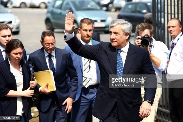 European Parliament President Antonio Tajani arrives at the European People's Party headquarters in Brussels for a EPP meeting on the sidelines of...