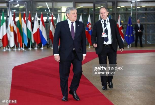 European Parliament President Antonio Tajani arrives for an EU Eastern Partnership summit with six eastern partner countries at the European Council...