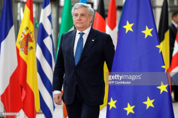 European Parliament President Antonio Tajani arrives for an European Union leaders summit on June 22 at the European Council in Brussels / AFP PHOTO...