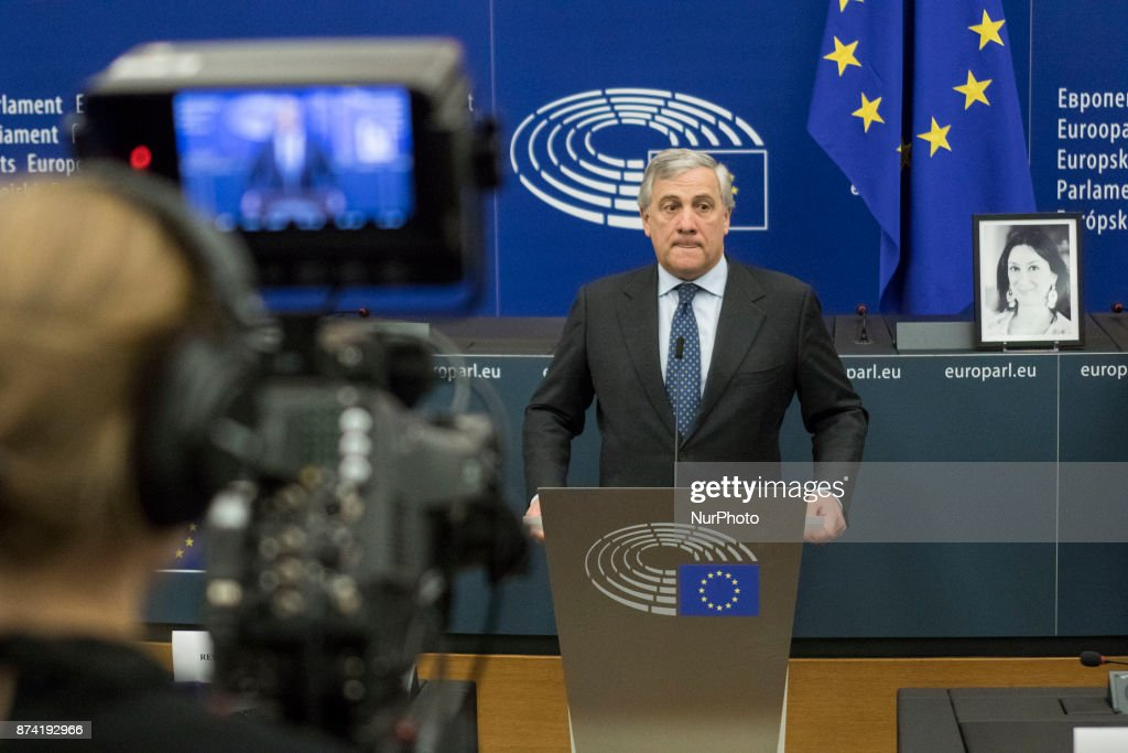 European Parliament President Antonio Tajani attends Naming ceremony of press conference room in honour of Daphné CARUANA GALIZIA on 14 november 2017, in Strasbourg, France. Daphné CARUANA GALIZIA was a Maltese journalist, writer, and anti-corruption activist. At around 3 pm on 16 October 2017, Daphne Caruana Galizia died in a car bomb attack on her rented Peugeot 108, while she was driving close to her home in Malta.