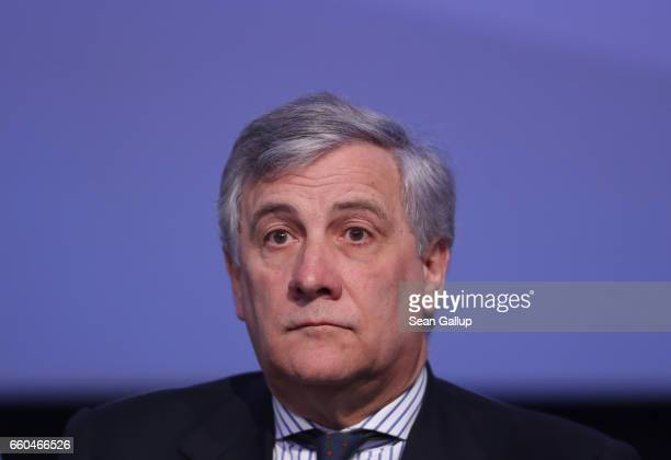 European Parliament President Antonio Tajani attends the European People's Party Congress on March 30 2017 in San Giljan Malta The EPP which includes...