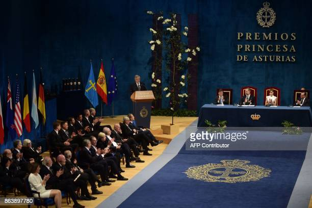 European Parliament president Antonio Tajani delivers a speech during the Princess of Asturias Awards ceremony at the Campoamor Theatre in Oviedo on...