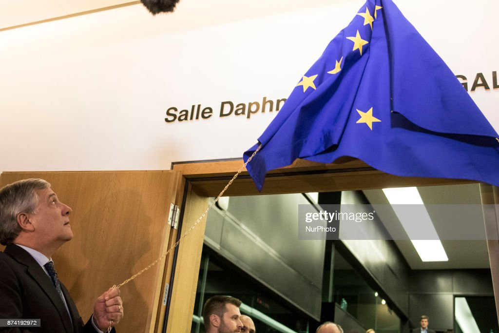 European Parliament President Antonio Tajani during Naming ceremony of press conference room in honour of Daphné CARUANA GALIZIA on 14 november 2017, in Strasbourg, France. Daphné CARUANA GALIZIA was a Maltese journalist, writer, and anti-corruption activist. At around 3 pm on 16 October 2017, Daphne Caruana Galizia died in a car bomb attack on her rented Peugeot 108, while she was driving close to her home in Malta.