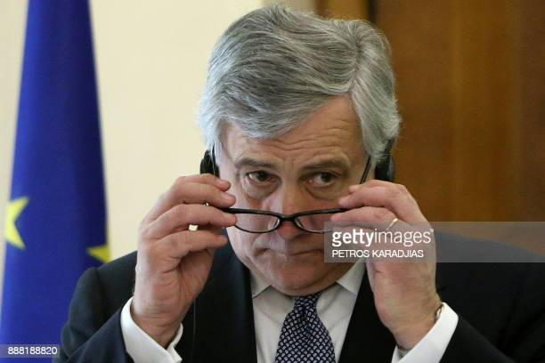 European Parliament President Antonio Tajani gestures during a press conference with the Cypriot president following their meeting at the...