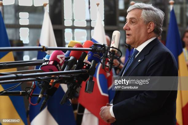 European Parliament President Antonio Tajani speaks to the press as he arrives at the Europa Building the main headquarters of European Council in...