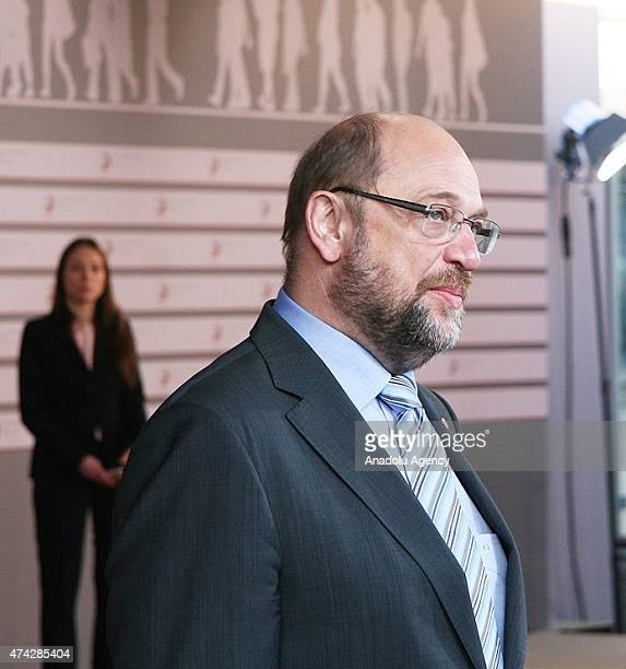 European Parliament President Martin Schultz arrives at the House of the Blackhead for a dinner at the Eastern Partnership Summit in Riga Latvia on...