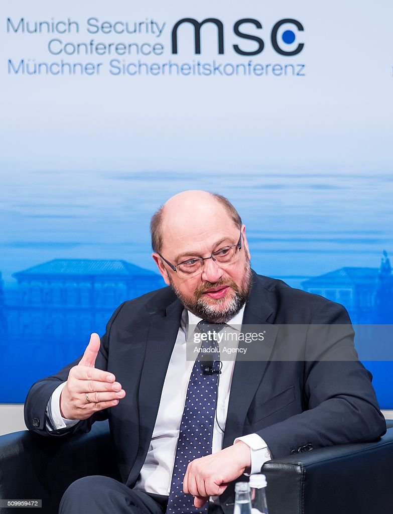 European Parliament President Martin Schultz speaks at the 2016 Munich Security Conference at the Bayerischer Hof hotel on February 13, 2016 in Munich, Germany. The annual event brings together government representatives and security experts from across the globe and this year the conflict in Syria will be the main issue under discussion.