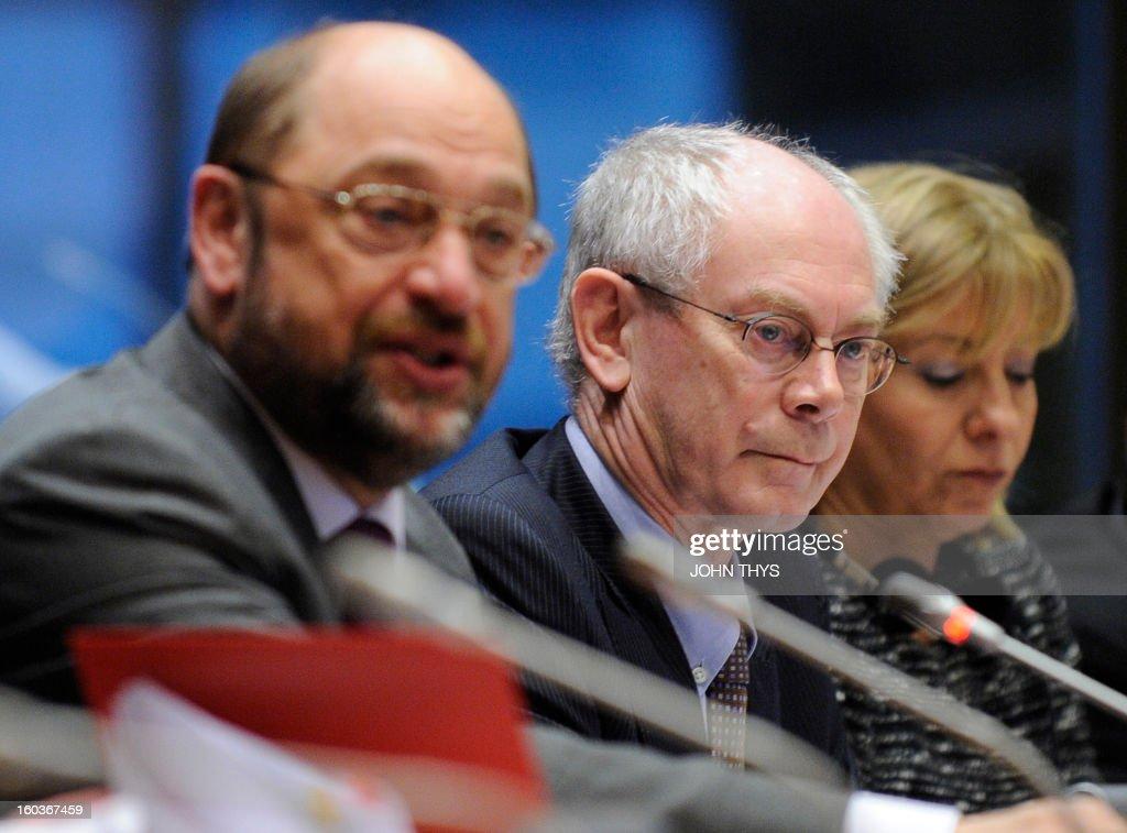 European Parliament President Martin Schulz (L) and European Union President Belgian Herman Van Rompuy (C) attend the 'European Parliamentary Week on the European Semester' on economic policy coordination at the European Parliamen in Brussels on January 30, 2013.