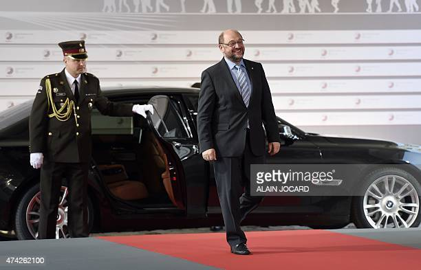 European Parliament president Martin Schulz arrives at the House of the Blackhead for an informal dinner at the start of the fourth European Union...