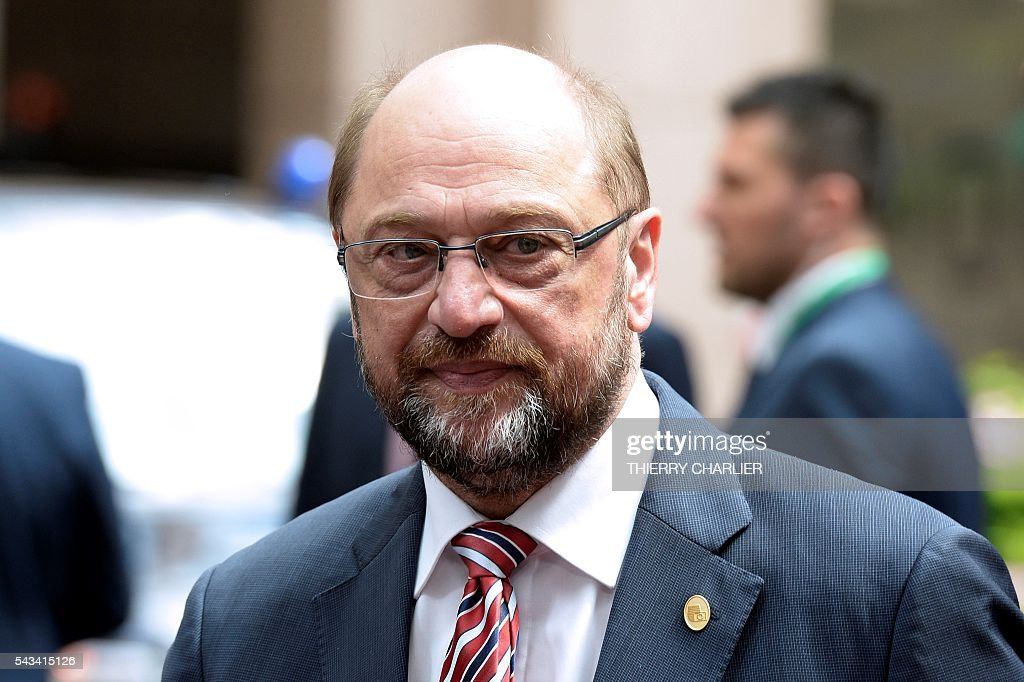 European Parliament President Martin Schulz arrives before an EU summit meeting on June 28, 2016 at the European Union headquarters in Brussels. / AFP / THIERRY