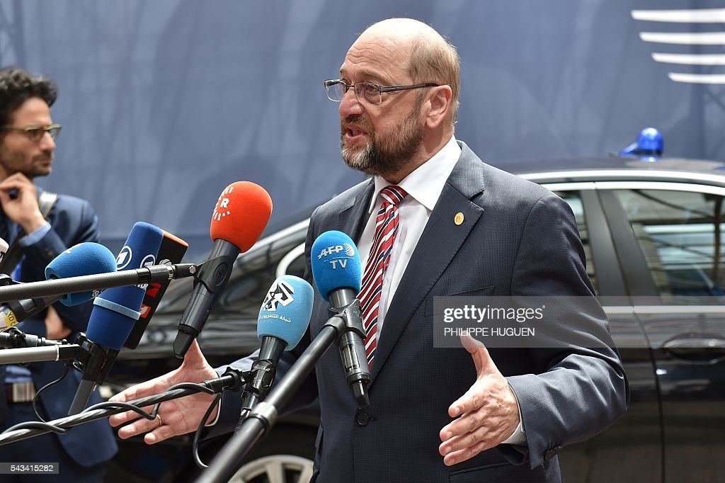 European Parliament President Martin Schulz arrives before an EU summit meeting on June 28, 2016 at the European Union headquarters in Brussels. / AFP / PHILIPPE