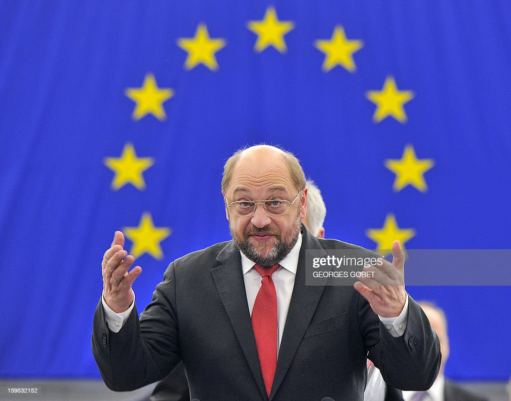 European Parliament President Martin Schulz arrives to take part in a debate on the future of European Union at the European Parliament in Strasbourg on January 15, 2013 during a plenary session.