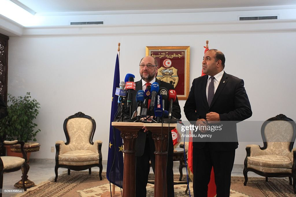European Parliament President Martin Schulz (L) delivers a speech during a press conference at Carthage International Airport in Tunis, Tunisia on February 10, 2016.
