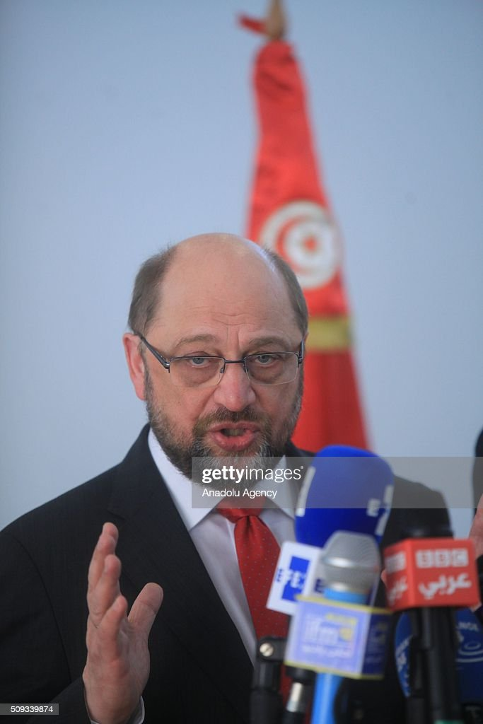 European Parliament President Martin Schulz delivers a speech during a press conference at Carthage International Airport in Tunis, Tunisia on February 10, 2016.