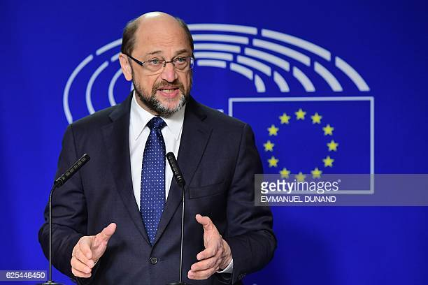 European Parliament president Martin Schulz delivers a speech to announce he will step down from his office and return to national politics in...
