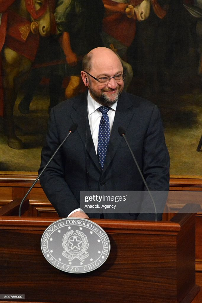 European Parliament President Martin Schulz gestures during a joint press conference at Chigi palace in Rome, Italy on February 12, 2016.