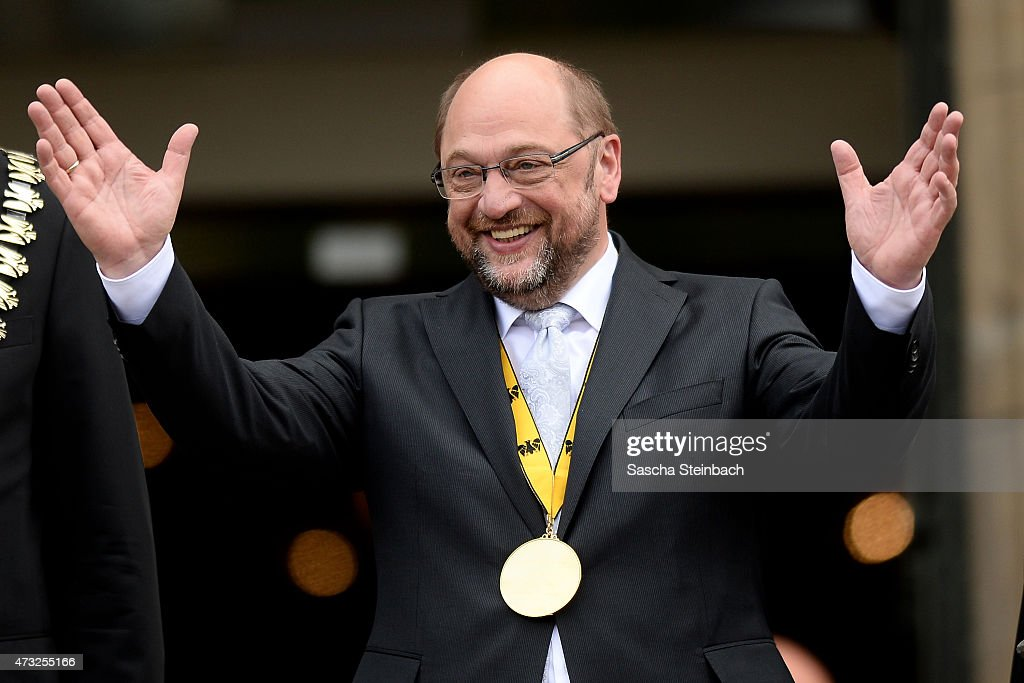 European Parliament President <a gi-track='captionPersonalityLinkClicked' href=/galleries/search?phrase=Martin+Schulz&family=editorial&specificpeople=598638 ng-click='$event.stopPropagation()'>Martin Schulz</a> gestures during the International Charlemange Prize Of Aachen 2015 (Der Internationale Karlspreis zu Aachen) on May 14, 2015 in Aachen, Germany. The International Charlemagne Prize, one of the most prestigious European prizes, is awarded once a year since 1950 by the city of Aachen to people for distinguished service on behalf of European unification.