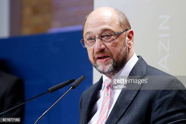European Parliament President Martin Schulz gives a speech during the VDZ Publishers' Night 2016 at Deutsche Telekom's representative office on...