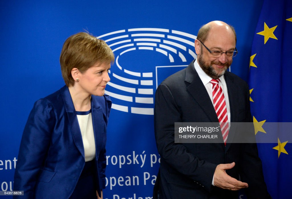 European Parliament President Martin Schulz (R) greets Scottish First Minister Nicola Sturgeon prior to their meeting at the European Parliament in Brussels on June 29, 2016. Sturgeon, who has said she plans to defend Scotland's place in the EU after a vote by Britain as a whole to leave the bloc, was meeting the President of the European Parliament Martin Schulz on June 29, 2016, and was also to meet European Commission President Jean-Claude Juncker. CHARLIER