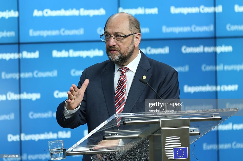 European Parliament President Martin Schulz holds a press conference prior to the EU-Summit on Brexit in Brussels, Belgium on June 28, 2016.