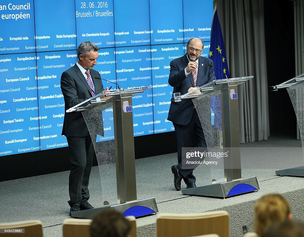 European Parliament President Martin Schulz (R) holds a press conference prior to the EU-Summit on Brexit in Brussels, Belgium on June 28, 2016.
