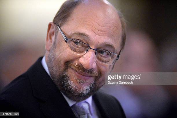 European Parliament President Martin Schulz looks on during the pontifical mass prior to the International Charlemange Prize Of Aachen 2015 on May 14...