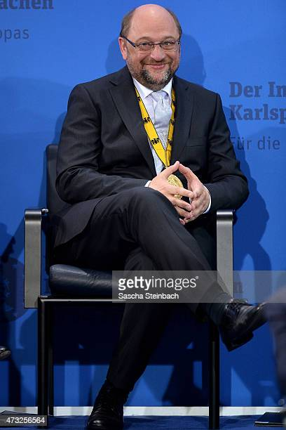 European Parliament President Martin Schulz looks on during the International Charlemange Prize Of Aachen 2015 on May 14 2015 in Aachen Germany The...