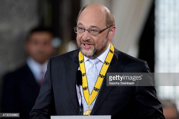 European Parliament President Martin Schulz speaks during the International Charlemange Prize Of Aachen 2015 on May 14 2015 in Aachen Germany The...