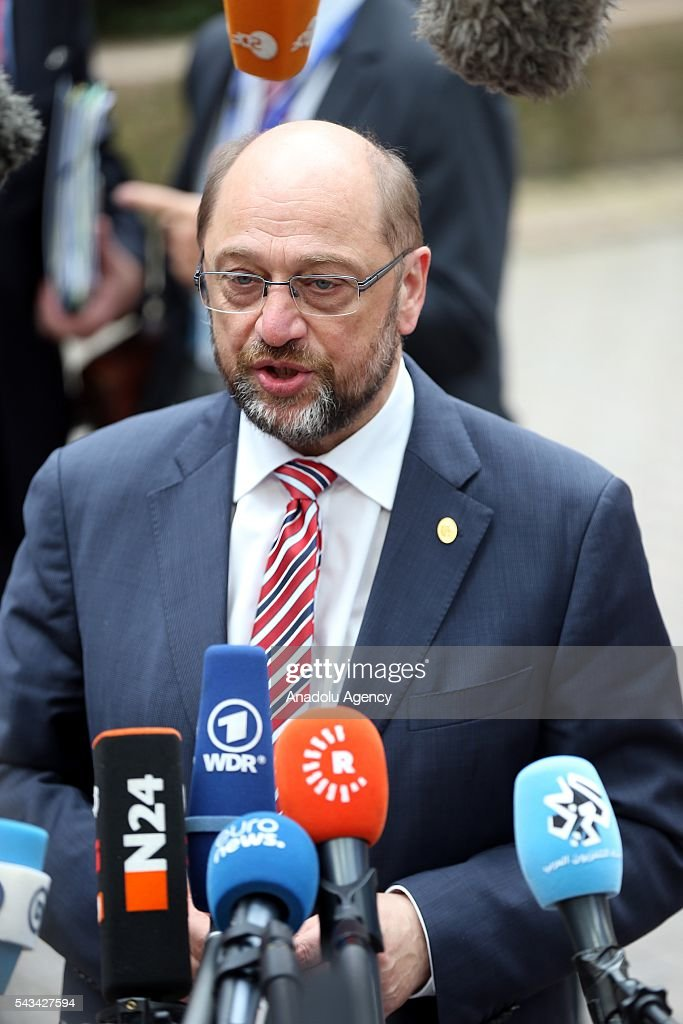 European Parliament President Martin Schulz speaks to media before attending the EU summit meeting on June 28, 2016 at the European Union headquarters in Brussels.