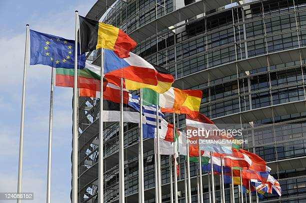 European parliamentillustrations The number of seats to win the next elections in Strasbourg France on April 23 2009 The flags of the Member states...