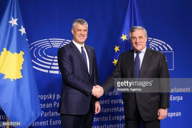 European Parliament's President Antonio Tajani and President of Kosovo Hashim Thaci shake hands during their meeting in Brussels Belgium on February...
