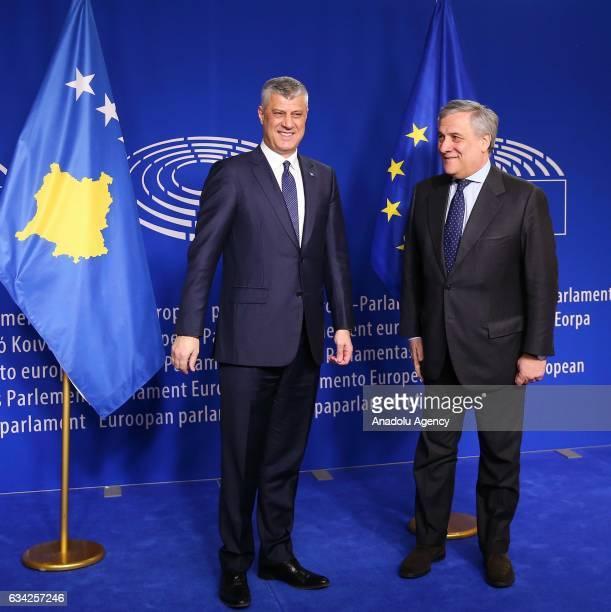European Parliament's President Antonio Tajani meets President of Kosovo Hashim Thaci in Brussels Belgium on February 08 2017