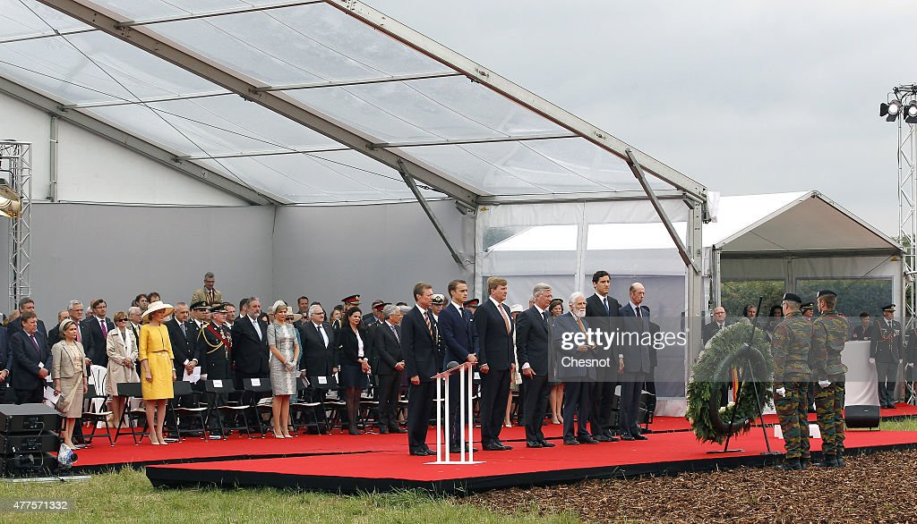European royals including Grand Duchess Maria Teresa of Luxembourg, Grand Duke Henri of Luxembourg, Queen Mathilde of Belgium (yellow dress), King Philippe of Belgium, Dutch King Willem-Alexander, Queen Maxima of the Netherlands, Arthur Wellesley, son of the ninth Duke of Wellington, Prince Nikolaus Furst Blucher von Wahlstatt; Prince Jean-Christophe Napoleon Bonaparte and Prince Edward, Duke of Kent attend the Belgian federal government ceremony to commemorate the bicentenary of the Battle of Waterloo on June 18, 2015 in Waterloo, Belgium. The ceremony is at the start of three days of official events marking the 200th anniversary of the Battle of Waterloo during which around 5000 historical re-enactors from around the world will take part in events culminating in a re-enactment of the allied defeat of Napoleon's army on June 20th. The 1815 battle saw the overthrow of Napoleon Bonaparte and the restoration of Louis XVIII to the French throne.