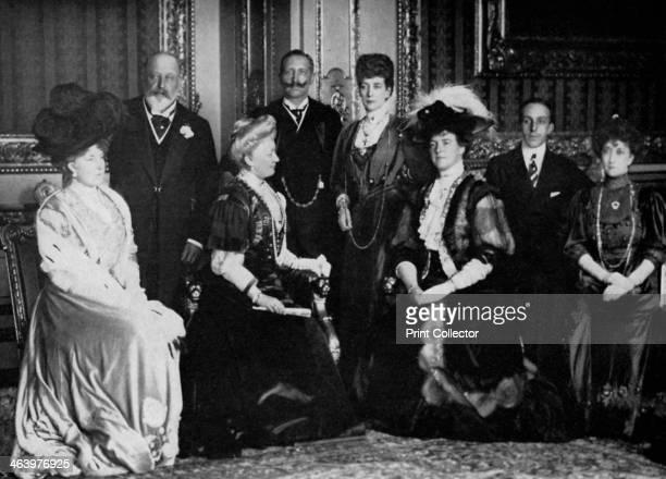 European royalty at Windsor Castle 17th November 1907 Queen Ena of Spain King Edward VII the German Empress Kaiser Wilhelm II of Germany Queen...